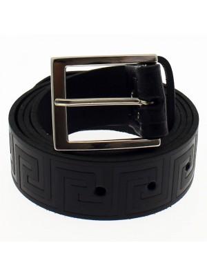 """Men's Embossed Leather Belts 1.5"""" Wide - Black"""
