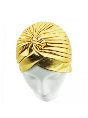 Metallic Look Turban In Gold Colour