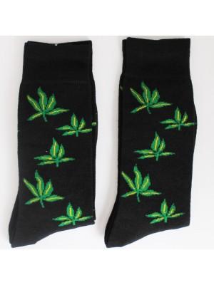 Multi Cannabis Leaf Print Black Socks