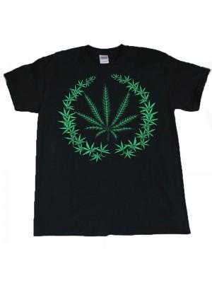 Multi Cannabis Leaf Design Black Cotton T-Shirt