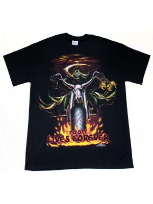 No One Lives Forever Design Black Cotton T-Shirt