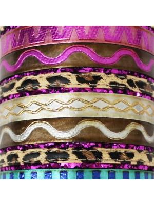 Friendship Leather Bracelet Assorted Stripes Design On Display Roll