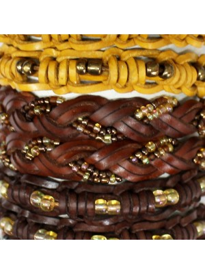 Friendship Leather Bracelet In Plated Beads Assorted On A Display Roll