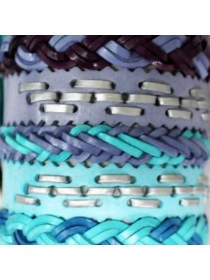Friendship Leather Bracelet On The Roll Assorted Colours With Blue Plated