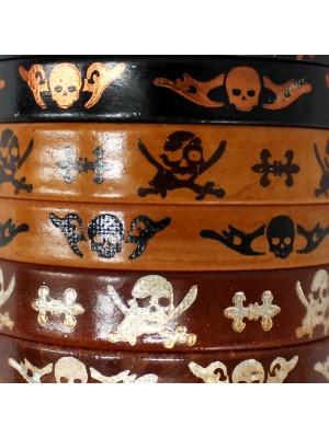 Friendship Leather Bracelet On The Roll Skulls Design Brown/ Black Assorted