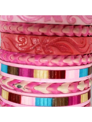 Friendship Leather Bracelet On The Roll Baby Pink Assorted