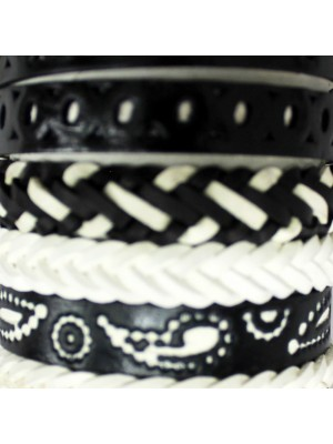 Friendship Leather Bracelet On The Roll Black & White Assorted