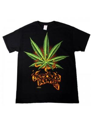 """Absolute Liberty"" Design Black Cotton T-Shirt"