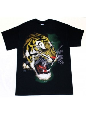 Tiger Roar Face Design Black Cotton T-Shirt