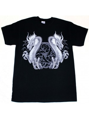 Twin Dragon Design Black Cotton T-Shirt