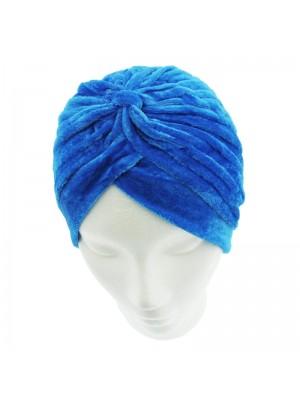 Velvet Turban Hat In Blue Colour
