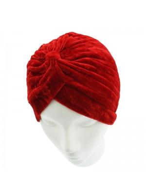 Velvet Turban Hat In Red Colour