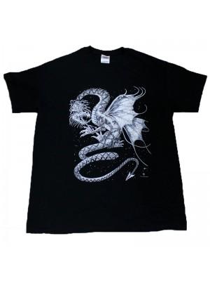 White Dragon Design Black Cotton T-Shirt