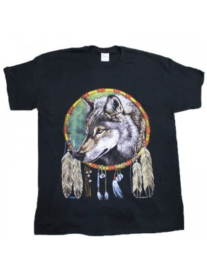 Wolf Dreamcatcher Black Cotton T-Shirt