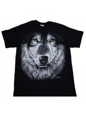 Green Eye Wolf Face Design Black Cotton T-Shirt
