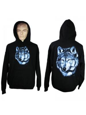 Lone Wolf Design Printed Black Hoodie