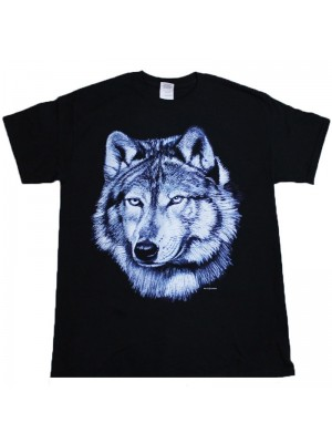 Lone Wolf Face Design Black Cotton T-Shirt