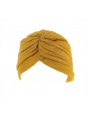 Ladies Glitter Turban In Gold Colour